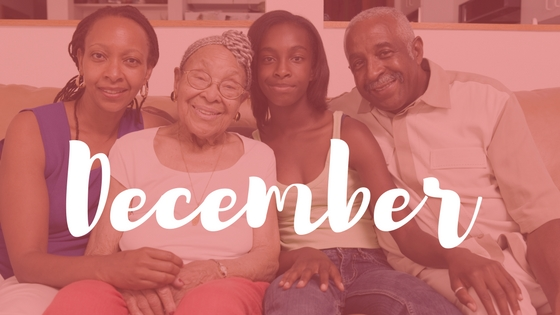 Photo of family with December superimposed