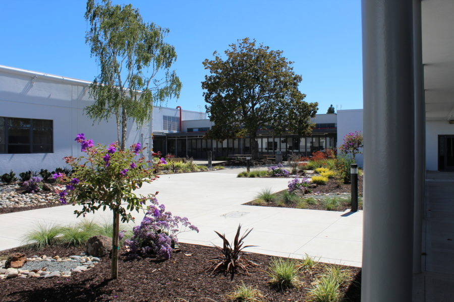 Courtyard of senior center and health clinic in San Leandro Center for Elders' Independence PACE center