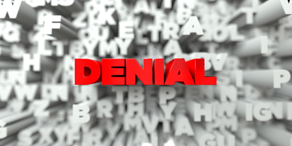 Illustration of the word denial.