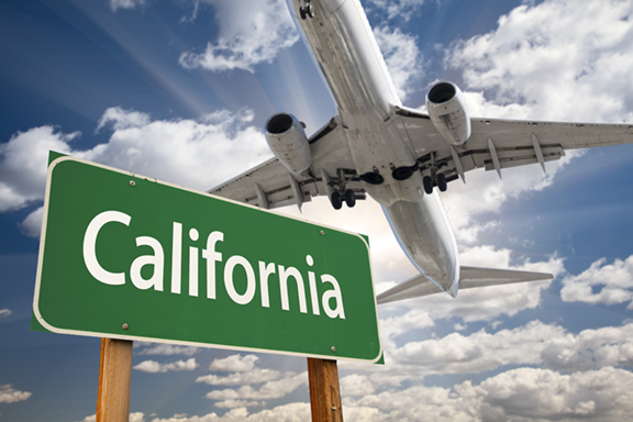 Photo of plane flying to California.