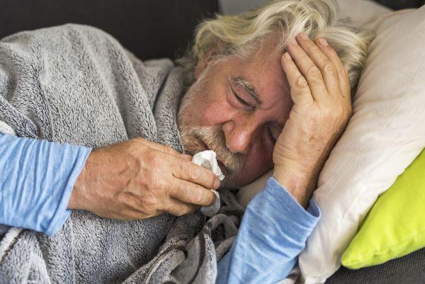 Older Gent Sick in Bed