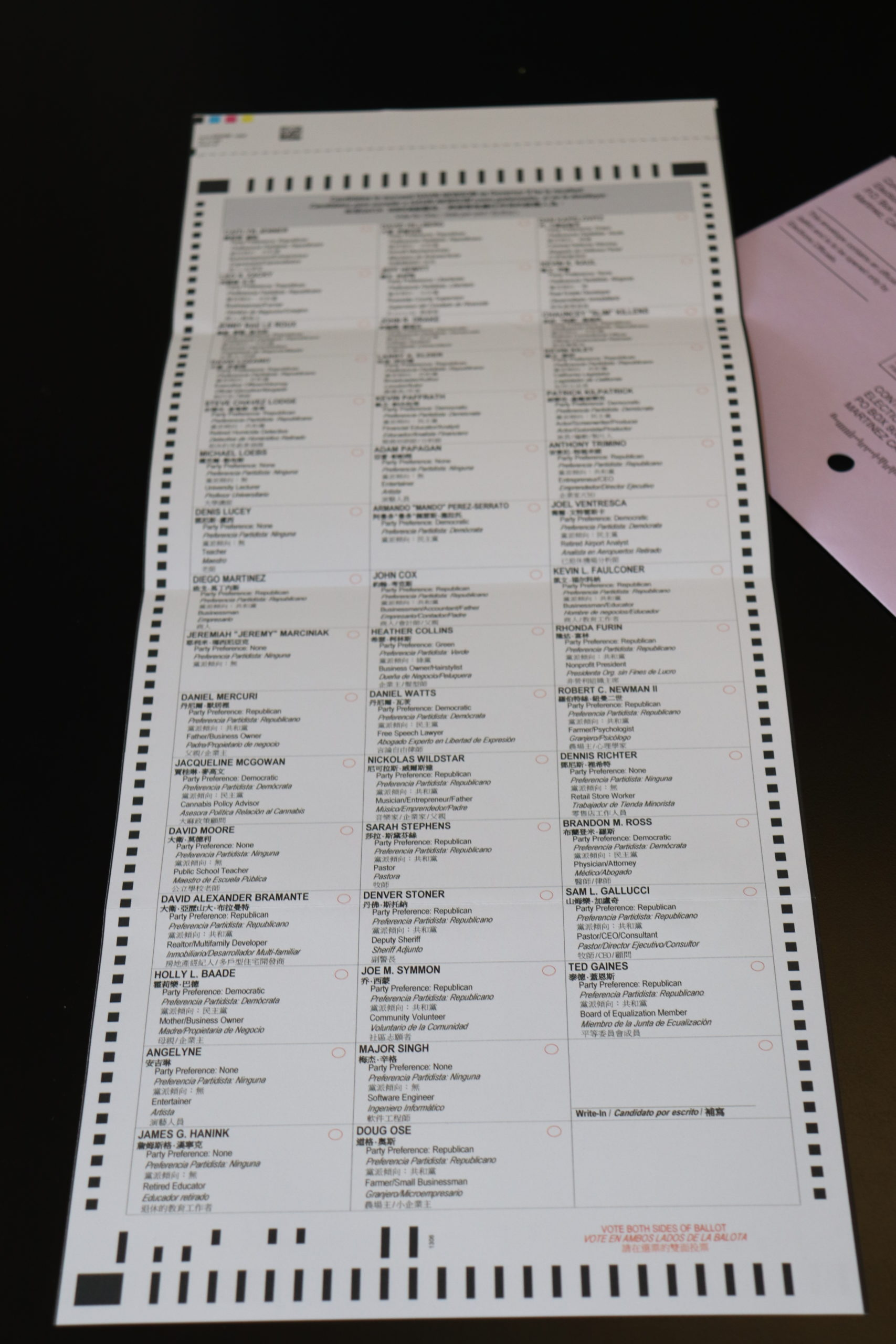The second part of the official ballot.