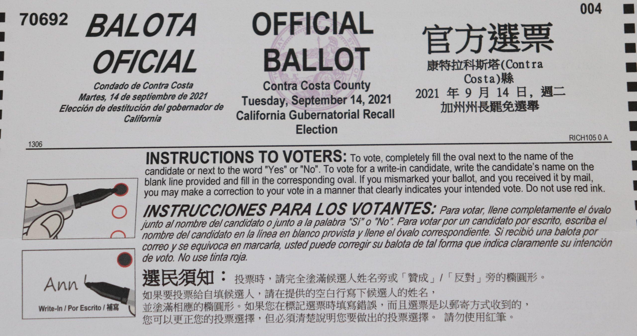 The top half of an official Contra Costa County ballot.